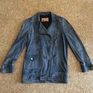 Vintage John Galliano Blue Suede Coat